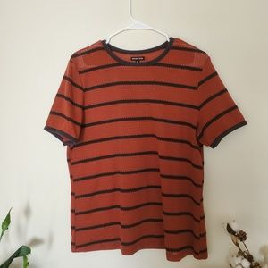 Who What Wear Burnt Orange and Black Striped Top